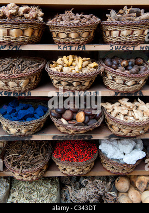 Colourful exotic spices for sale in Deira Spice Souq in old Dubai UAE - Stock Photo