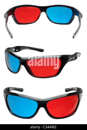 multiple angles of 3d cinema glasses in red and blue cutout on white - Stock Photo