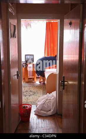 A cleaning lady at the hotel Belarus, Hrodna, Belarus - Stock Photo