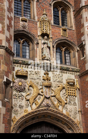 The front entrance to St John's College in Cambridge, UK, where a lunch was hosted for Britain's Queen Elizabeth - Stock Photo