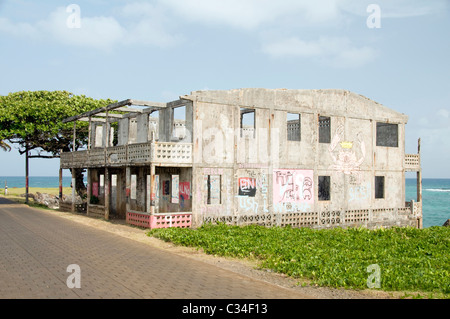 abandoned ruins old hotel seaside on North End malecon Big Corn Island Nicaragua Central America - Stock Photo