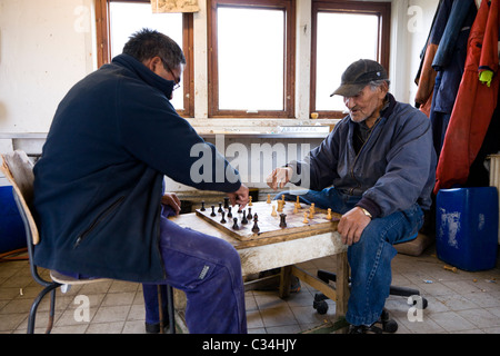 Fishermen playing 'Checkers' board game. Also called 'Draughts' board game. Fishermen´s huts, Narsaq, South Greenland - Stock Photo