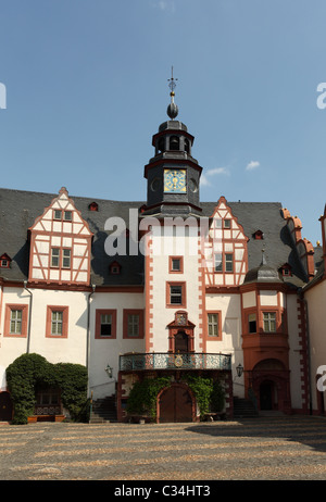 Clock Tower of the Castle Weilburg in Hesse, Germany - Stock Photo