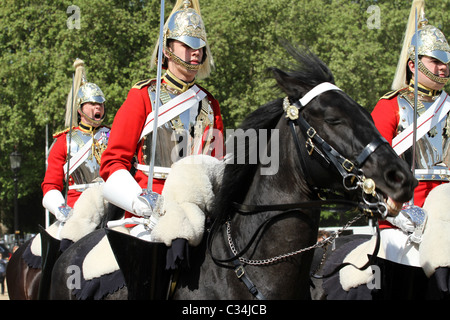 Royal Cavalry rehearsing for Royal Wedding in London UK - Stock Photo
