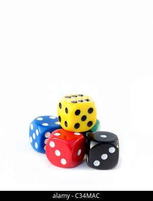 Multi colored dice - Stock Photo