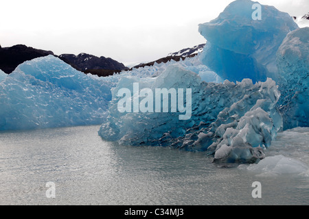 Views of ice on Lago Grey, Torres del Paine, Patagonia, Chile, South America. - Stock Photo