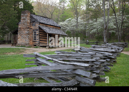 Great Smoky Mountains National Park, Tennessee - John Oliver Place in Cades Cove. - Stock Photo