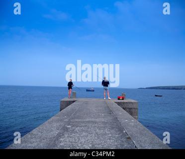 Achill Island,Co Mayo,Ireland;Father And Son Fishing Off Doogort Pier - Stock Photo