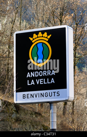Welcome to the capital Andorra La Vella, welcome sign in Catalan at the entrance to of Andorra La Vella, Principality - Stock Photo