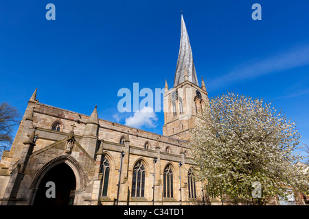 St Mary's Church Chesterfield with a famous twisted spire Derbyshire England GB UK EU Europe - Stock Photo