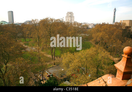 Rooftop view from Hotel Russell of Russell Square, Centre Point, Senate House and Telecom Tower, Bloomsbury, London, - Stock Photo