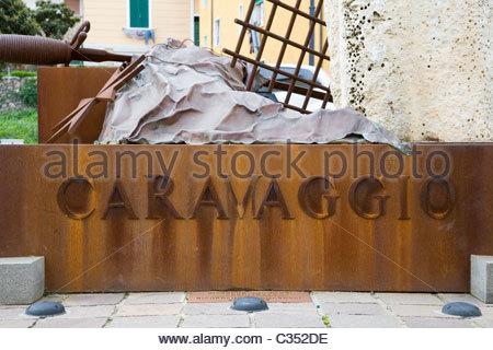 monument to caravaggio,porto ercole,tuscany,italy - Stock Photo
