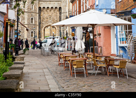 Church Street, a cobbled street of bars, restaurants & souvenir shops looking towards the castle in Windsor Berkshire England UK