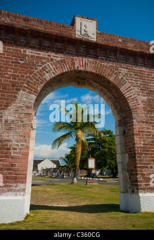 Restored arch near entrance to Fort Charles, in Port Royal, across the harbor from Kingston, St Andrew, Jamaica. - Stock Photo