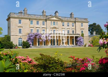 Exbury Gardens , Lionel de Rothschild rhododendrons & azaleas reserve ,  Inchmery House neoclassical mansion rebuilt - Stock Photo