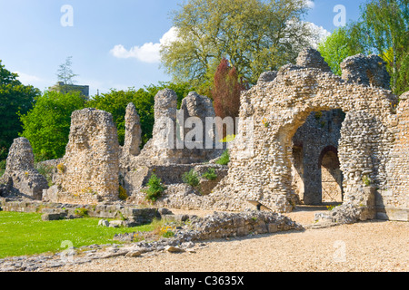 Winchester City , ancient capital of Wessex , ruins of Wolvesey Castle erstwhile Medieval Bishop's Palace built - Stock Photo