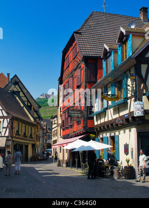 The small historic town of Ribeauvillé, a commune in the Haut-Rhin department in Alsace in north-eastern France. - Stock Photo