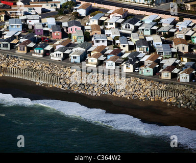 aerial view above prefabricated and mobile Pacific ocean side homes Pacifica California - Stock Photo
