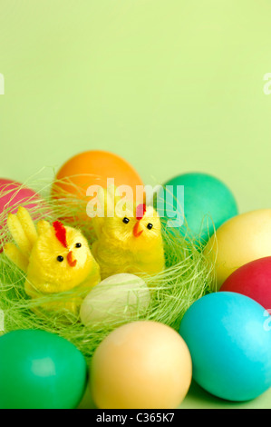 Colorful Easter eggs and two decorative chicks in a nest Artistic still life isolated on light green background - Stock Photo