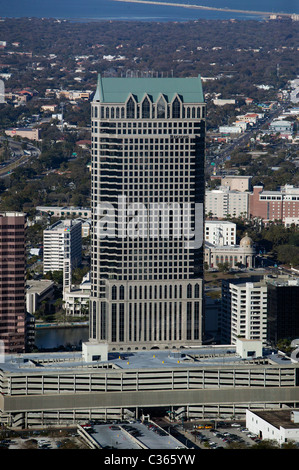 aerial view above 100 North Tampa office tower Tampa Florida - Stock Photo
