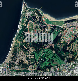 aerial map view above Presidio national park Doyle Drive Crissy