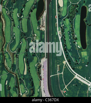 aerial map view above golf course at Indianapolis Motor Speedway Indiana - Stock Photo
