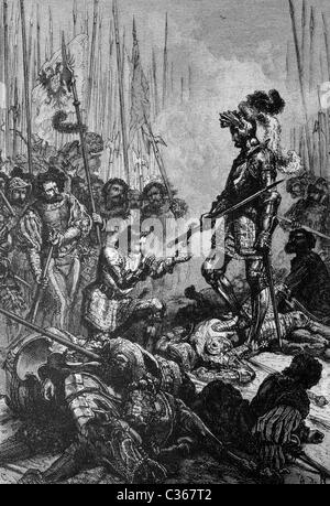 Capture of Francis I (1494-1547), king of France, in Pavia, historical illustration, circa 1886 - Stock Photo