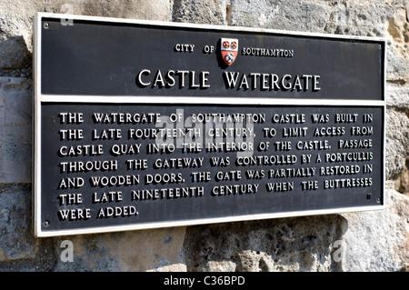 Castle Water Gate Sign City Walls Southampton Hampshire England, UK, GB. - Stock Photo