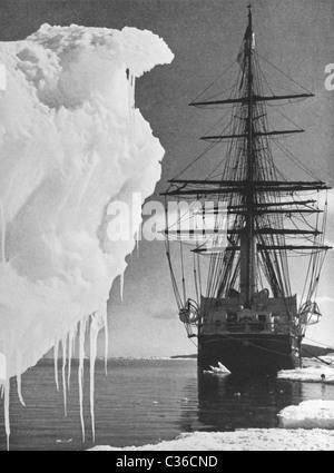 Vintage photo of Robert Falcon Scott's ship 'Terra Nova' moored in Antarctica during the Terra Nova Expedition of - Stock Photo