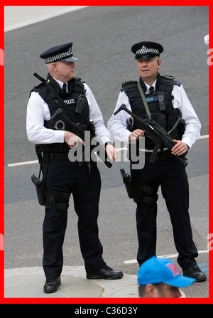 The Wedding of Prince William and Catherine Middleton. 29th April 2011. Armed Police guard Westminster Abbey for - Stock Photo