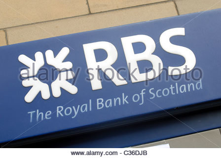 Edinburgh, Scotland, UK Logo RBS Royal Bank of Scotland. - Stock Photo