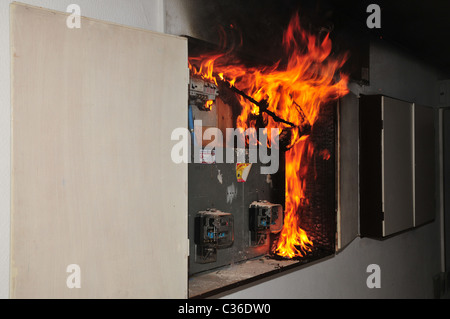 a fire broke out in a household electrical fuse box flames consumed rh alamy com fuse box fire car fire fuse box