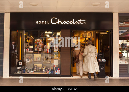 The Hotel Chocolat shop store in Cambridge , Cambridgeshire , England , Britain , Uk - Stock Photo