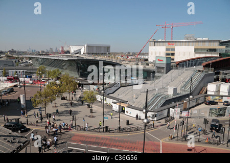 The newly (in 2011) redeveloped Stratford railway station with the new Westfield shopping centre in Stratford, East - Stock Photo