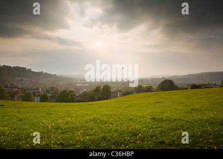 Bath City Skyline from Bathwick Hill in Spring. Somerset. England. UK. - Stock Photo