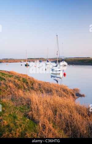 River Axe Estuary near Uphill with Brent Knoll in the distance. Somerset. England. UK. - Stock Photo