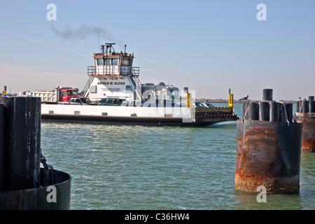 Port Aransas ferry departing. - Stock Photo
