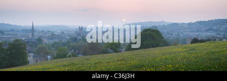 Bath City Skyline at Sunset from Bathwick Hill. Somerset. England. UK, - Stock Photo