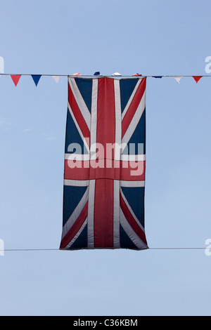 Union Jack  hanging in London - Stock Photo