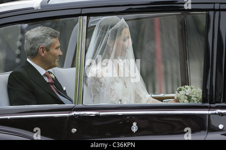 The Wedding of Prince William and Catherine Middleton. 29th April 2011. Kate Middleton arrives at Westminster Abbey, - Stock Photo