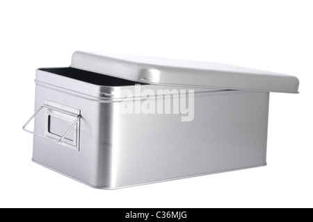 open silver steel box on white background - Stock Photo