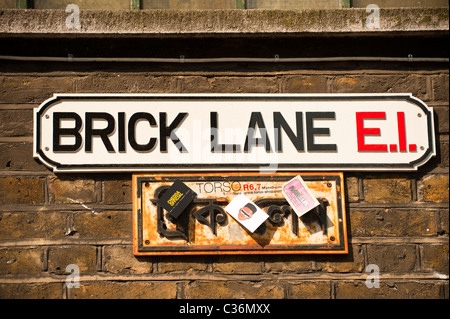 LONDON:  Bilingual street sign for Brick Lane in English and Bengali - Stock Photo