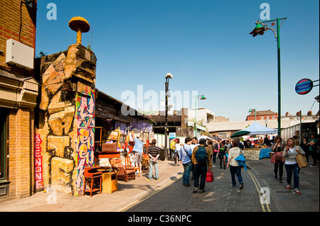 Street Market in Brick Lane in the Eastend of London - Stock Photo