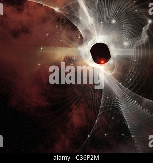 A nebula forms gossamer cobweb like strands in the cosmos. - Stock Photo