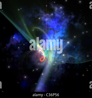 Cosmic strands of gaseous filament out in space. - Stock Photo