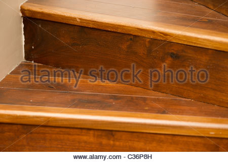 Varnished wooden floor in a central London home - staircase - Stock Photo