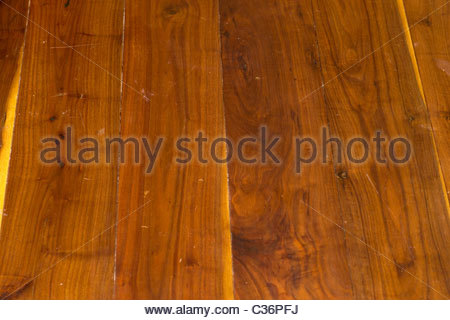 Varnished wooden floor in a central London home - Stock Photo