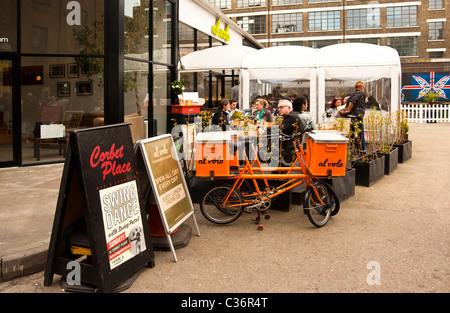Al Volo Restaurant in the Old Truman Brewery, Brick Lane London - Stock Photo