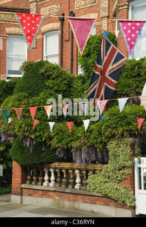 Bunting. Royal Wedding Street Party. London UK. 29 April 2011 HOMER SYKES - Stock Photo