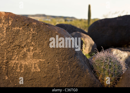 Horse and rider representation at the Painted Rock Petroglyph Site near Gila Bend, Arizona, USA. - Stock Photo